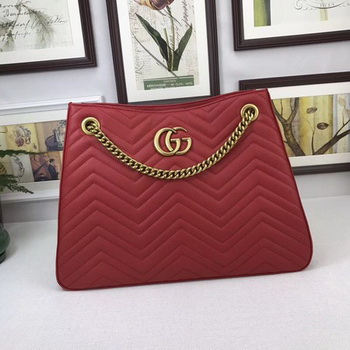 Gucci GG Marmont Medium Matelasse Shoulder Bag 453569 Red