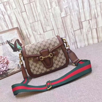 Gucci GG Lady Web Hand-Stained Leather Shoulder Bag 380573 Brown
