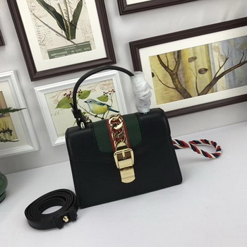 Gucci Sylvie Lather mini Bag 470270 Black