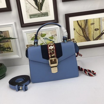 Gucci Sylvie Lather mini Bag 470270 Blue