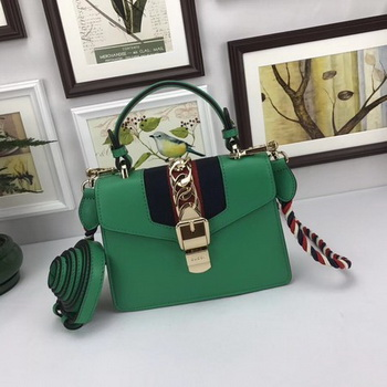 Gucci Sylvie Lather mini Bag 470270 Green