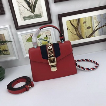 Gucci Sylvie Lather mini Bag 470270 Red