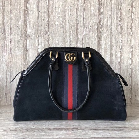 Gucci Suede Leather Top Handle Bag 501015 Black