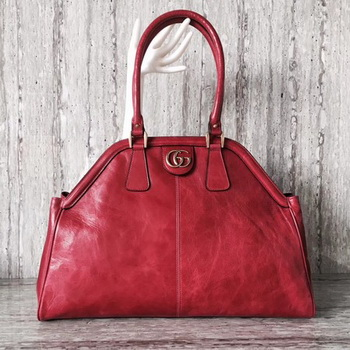 Gucci Suede Leather Top Handle Bag 501015 Red