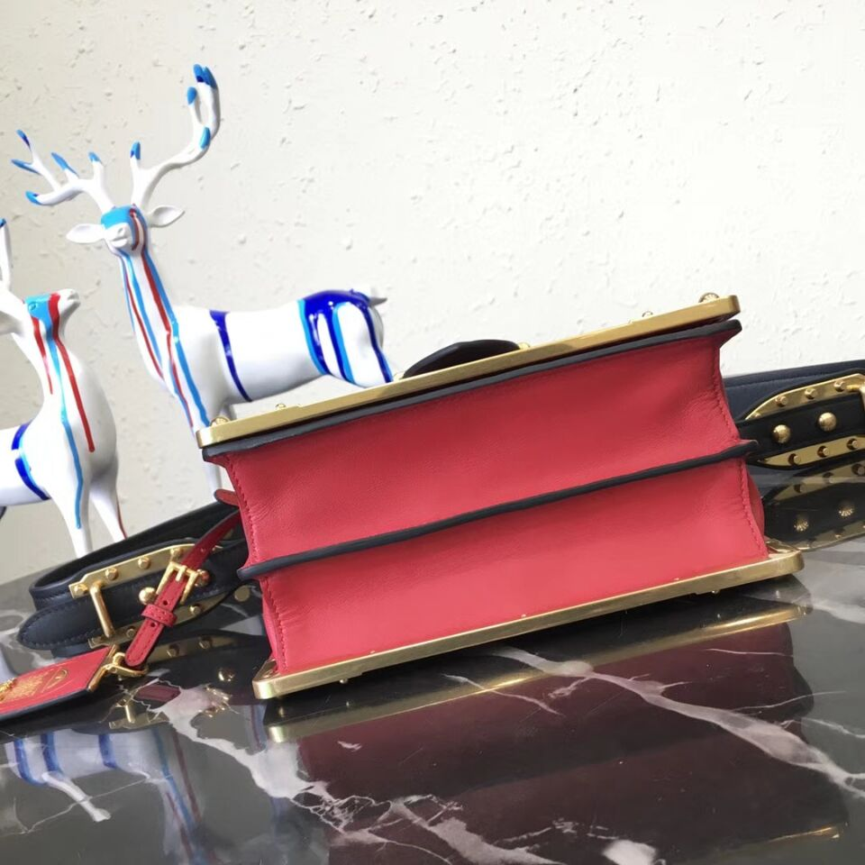 Prada Cahier Leather Shoulder Bag 1BD045 Black&Red