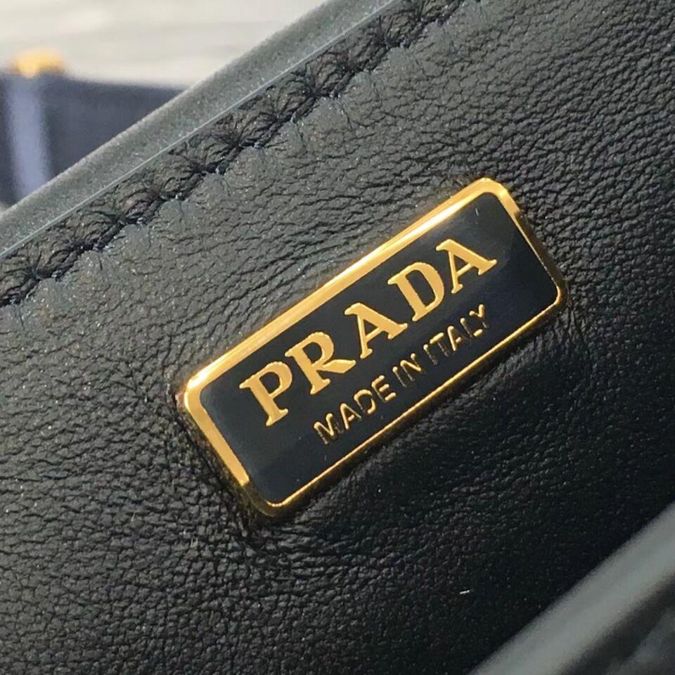 Prada Cahier Leather Shoulder Bag 1BD045 Black