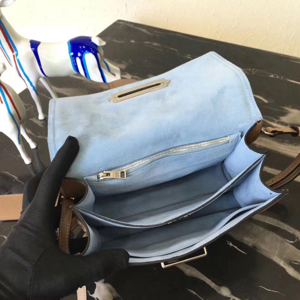 Prada Cahier Leather Shoulder Bag 1BD095 Apricot