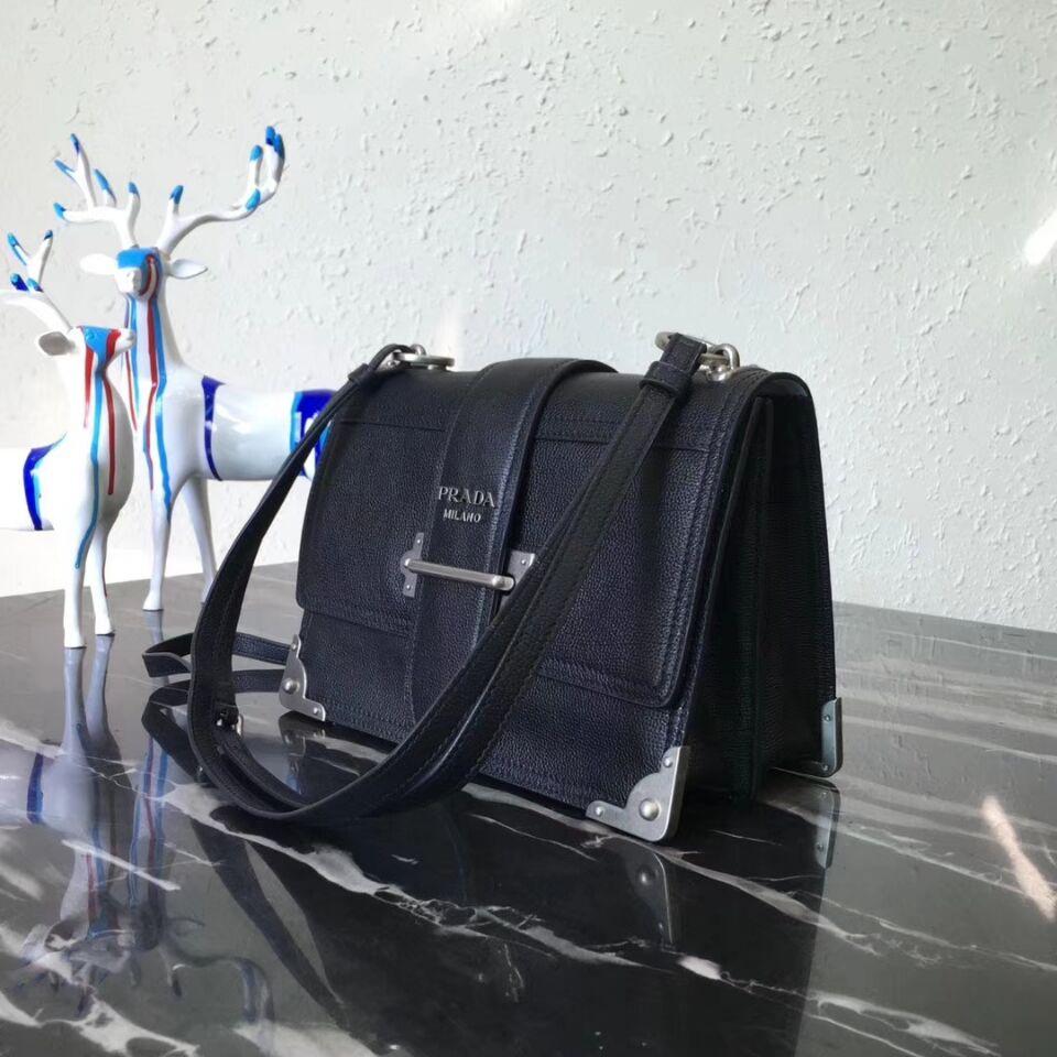 Prada Cahier Leather Shoulder Bag 1BD095 Black