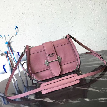 Prada Cahier Leather Shoulder Bag 1BD095 Pink