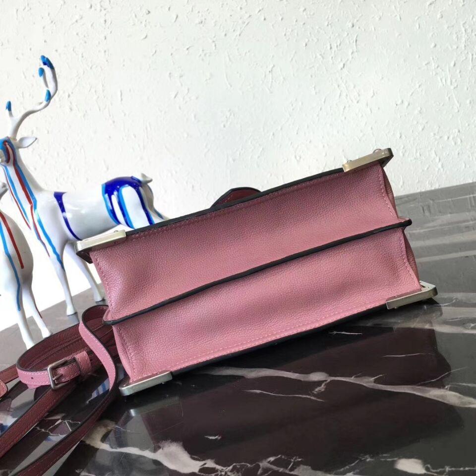 Prada Cahier Leather Shoulder Bag 1BD095 Pink