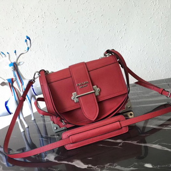Prada Cahier Leather Shoulder Bag 1BD095 Red