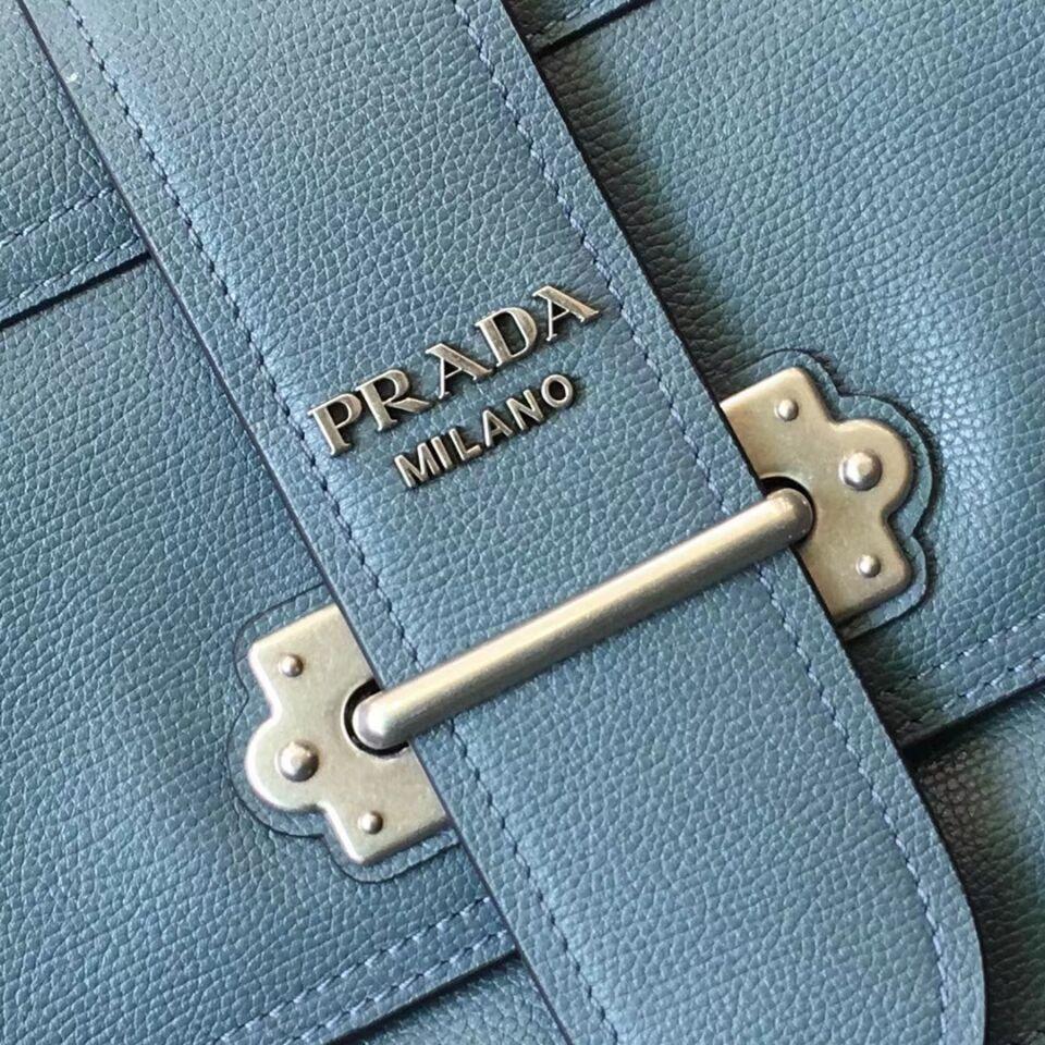 Prada Cahier Leather Shoulder Bag 1BD095 SkyBlue