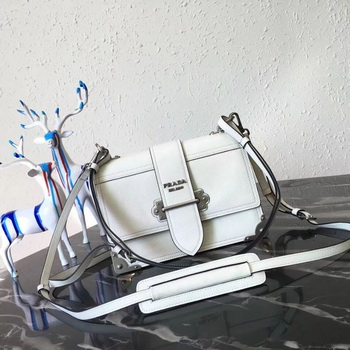 Prada Cahier Leather Shoulder Bag 1BD095 White