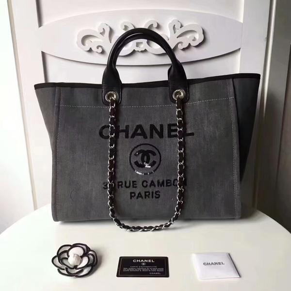 Chanel Medium Original Canvas Leather Tote Shopping Bag 66941A