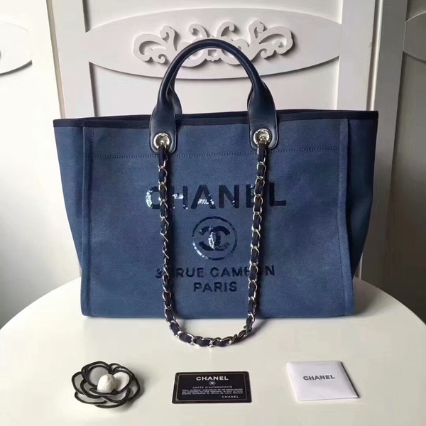 Chanel Medium Original Canvas Leather Tote Shopping Bag 66941B