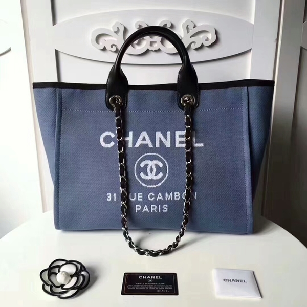 Chanel Medium Original Canvas Leather Tote Shopping Bag 66941H