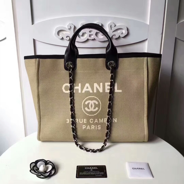 Chanel Medium Original Canvas Leather Tote Shopping Bag 66941I