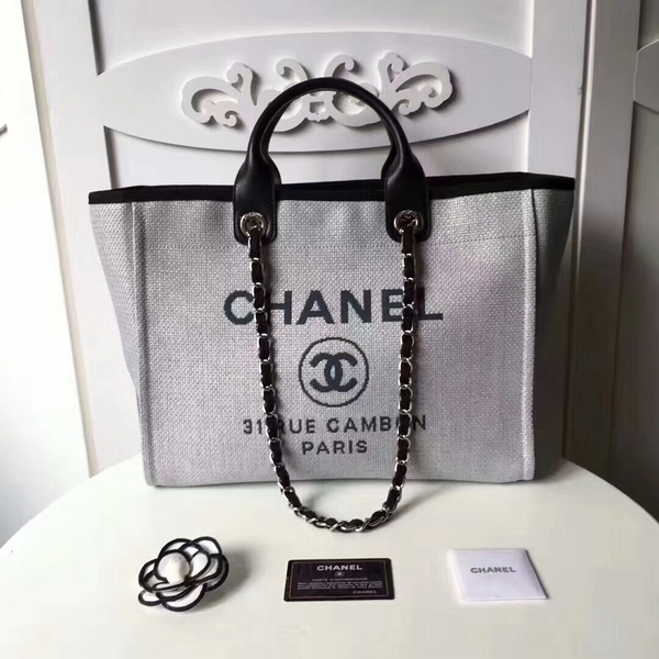 Chanel Medium Original Canvas Leather Tote Shopping Bag 66941J