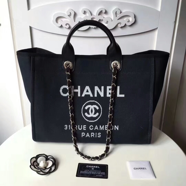 Chanel Medium Original Canvas Leather Tote Shopping Bag 66941K