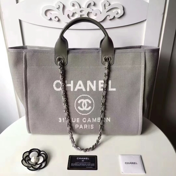 Chanel Medium Original Canvas Leather Tote Shopping Bag 66941L