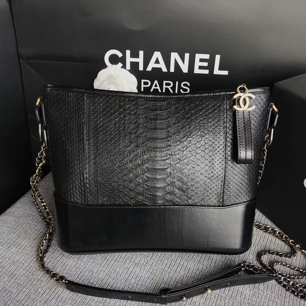 Chanel Gabrielle Shoulder Bag Original Python Leather A93842 Black