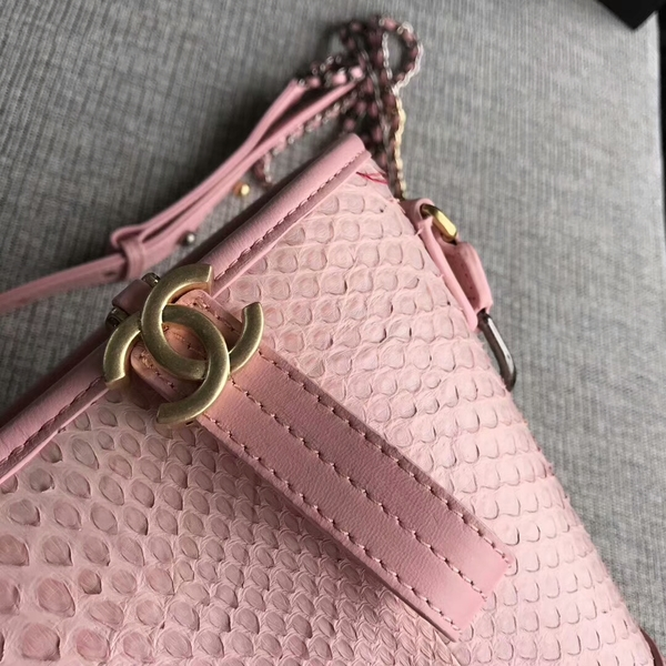 Chanel Gabrielle Shoulder Bag Original Python Leather A93842 Pink