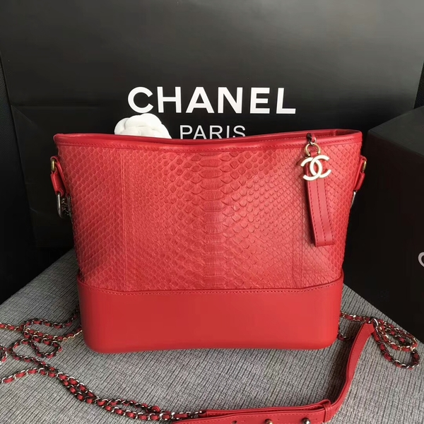 Chanel Gabrielle Shoulder Bag Original Python Leather A93842 Red