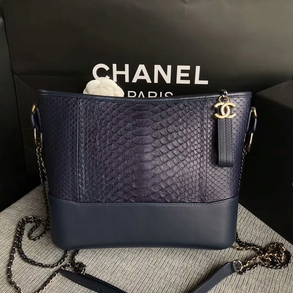 Chanel Gabrielle Shoulder Bag Original Python Leather A93842 Blue