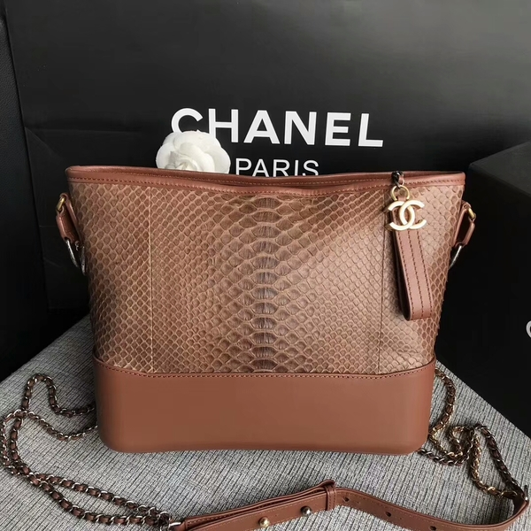 Chanel Gabrielle Shoulder Bag Original Python Leather A93842 Brown