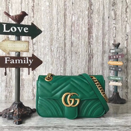 Gucci GG Marmont matelasse Mini Bag 446744 Green