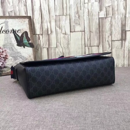 Gucci Night Courrier GG Supreme Flap Messenger Bag 474138 Black