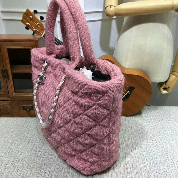 Chanel Suede Leather Tote Bag 92111 Pink