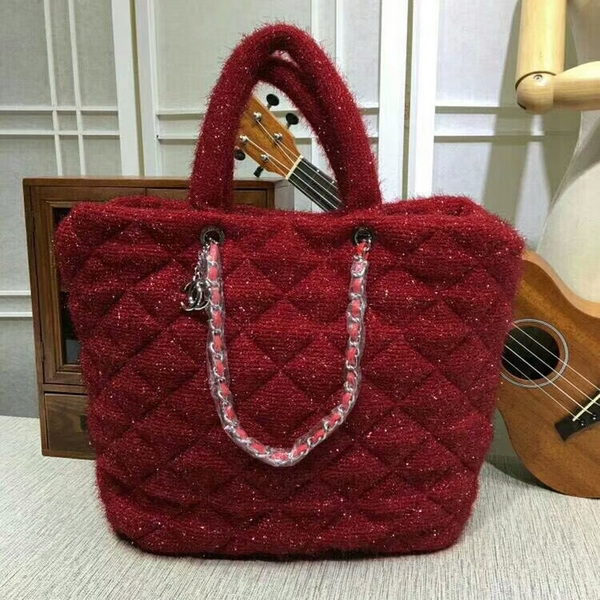 Chanel Suede Leather Tote Bag 92111 Red