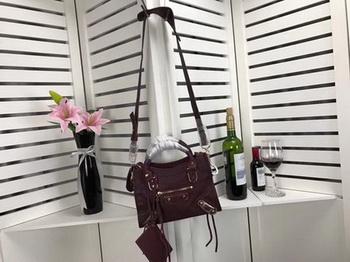Balenciaga Giant City Gold Studs Handbag B084336 Wine