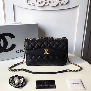 Chanel Classic Shoulder Bag Original Sheepskin Leather A57028 Black