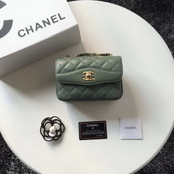 Chanel Classic Shoulder Bag Original Sheepskin Leather A57029 Green