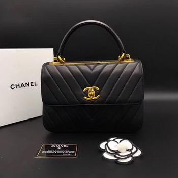 Chanel Classic Top Handle Bag Chevron Sheepskin Leather CHA2371 Black
