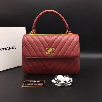 Chanel Classic Top Handle Bag Chevron Sheepskin Leather CHA2371 Red