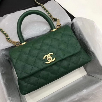 Chanel Classic Top Handle Bag Green Cannage Pattern A92290 Gold