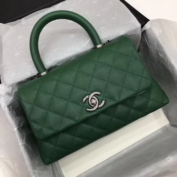 Chanel Classic Top Handle Bag Green Cannage Pattern A92290 Silver
