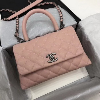 Chanel Classic Top Handle Bag Pink Cannage Pattern A92290 Silver