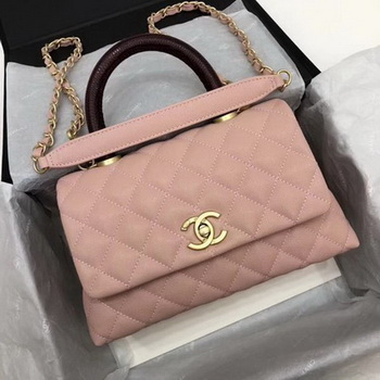 Chanel Classic Top Handle Bag Pink Cannage Pattern A92290 Wine