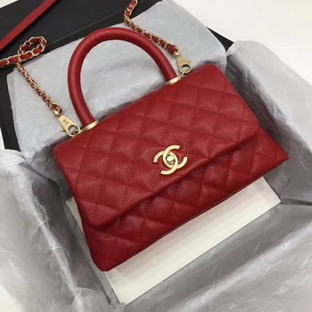 Chanel Classic Top Handle Bag Red Cannage Pattern A92290 Gold