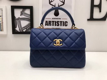 Chanel Classic Top Handle Bag Sheepskin Leather CHA2371 Blue