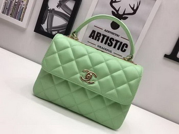 Chanel Classic Top Handle Bag Sheepskin Leather CHA2371 Green