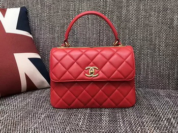 Chanel Classic Top Handle Bag Sheepskin Leather CHA2371 Red
