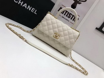 Chanel Classic Top Handle Bag White Cannage Pattern A92290 Gold