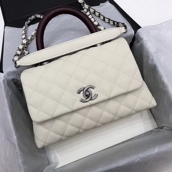 Chanel Classic Top Handle Bag White Cannage Pattern A92290 Red
