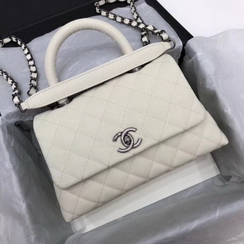 Chanel Classic Top Handle Bag White Cannage Pattern A92290 Silver