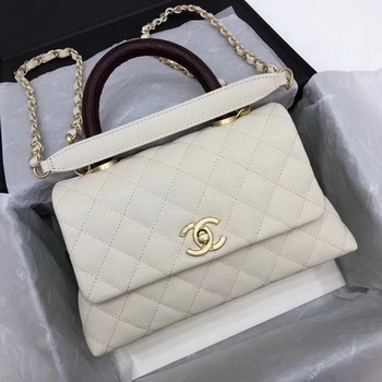 Chanel Classic Top Handle Bag White Cannage Pattern A92290 Wine